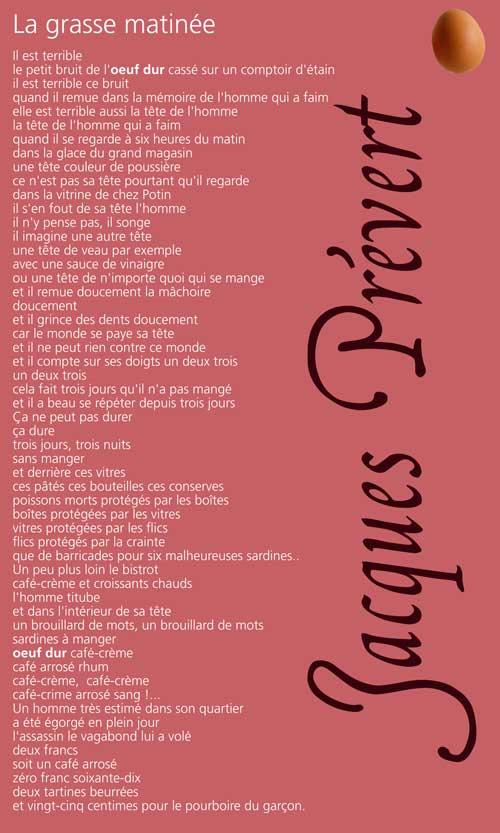 """""""La grasse matinée"""", un poème de Jacques Prévert"""